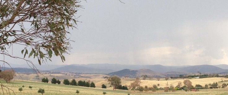 rain on Wombat range, view from Kaveney's road