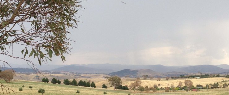 rain on Wombat range, view from Kaveney's road