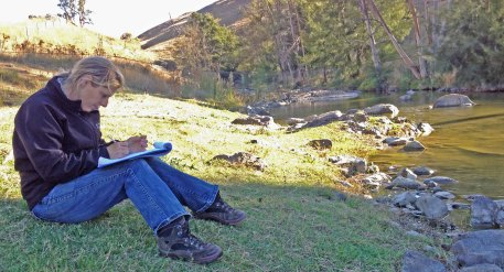 Lesley Peden recording vegetation Mullion Creek