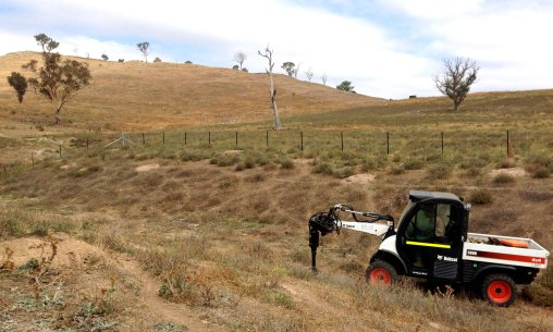 Digging holes in the Lucerne paddock gully