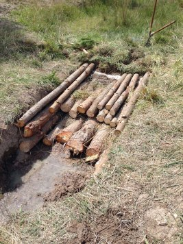 erosion control log structure almost finished