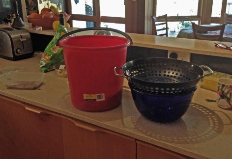 buckets on counter