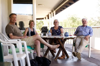 hanging out on the verandah with friends